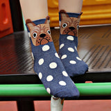 Funny Cute Cartoon Dog Polka Dot Small Ears Cotton Socks Women's Girl Soft Crew Socks  - Polka Dotted All The Things Boutique