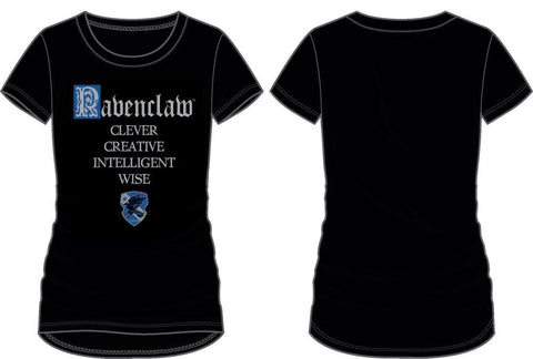 Harry Potter House of Ravenclaw Crest & Characteristics Clever Creative Intelligent Wise Women's Black T-Shirt - Angel Effect Shop