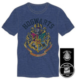 Harry Potter Hogwarts Crest And Motto Draco Dormiens Nunquam Titillandus Mens Blue T-Shirt
