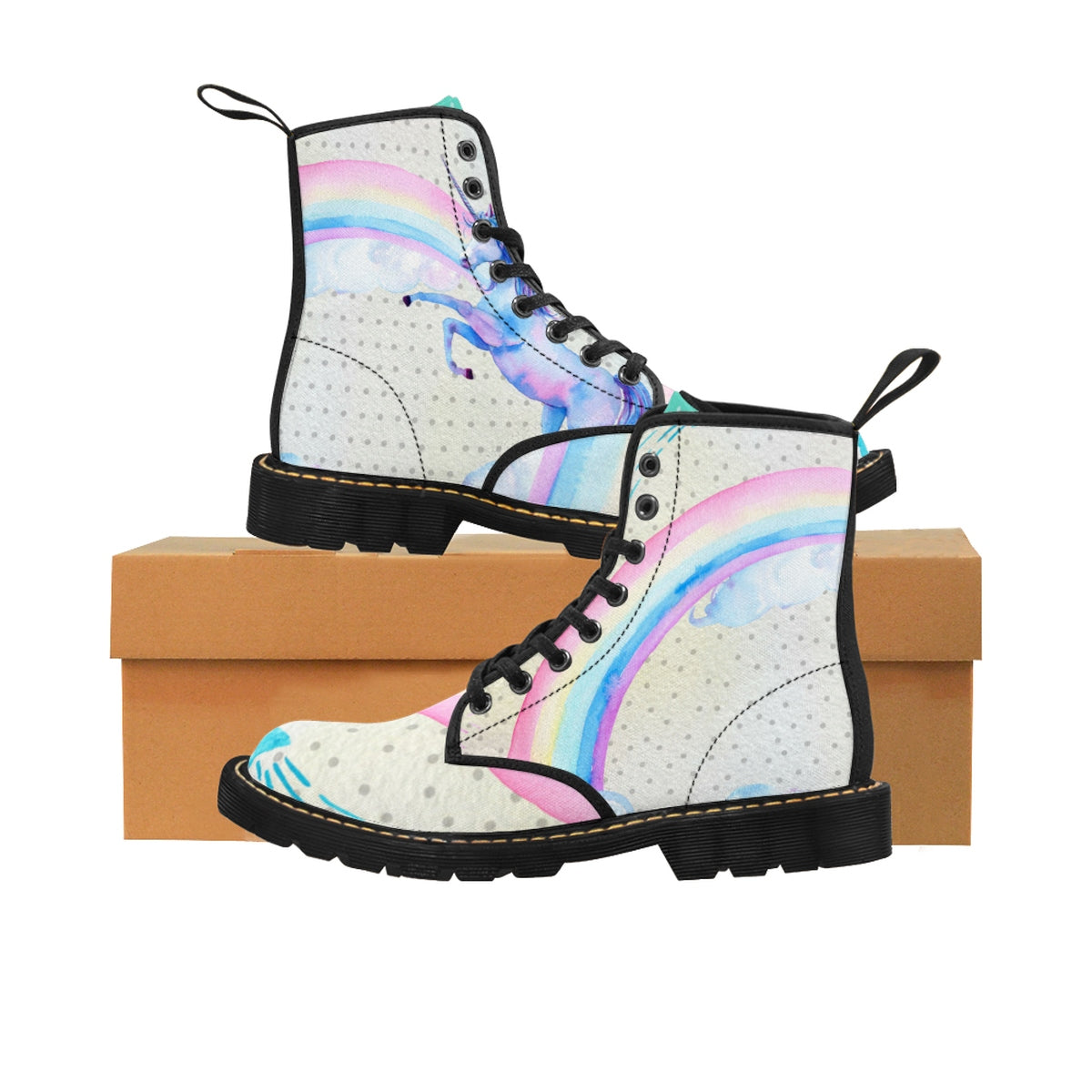 Dare to Dream Polka Dot Unicorn Kids' Martin Boots Shoes - Polka Dotted All The Things Boutique