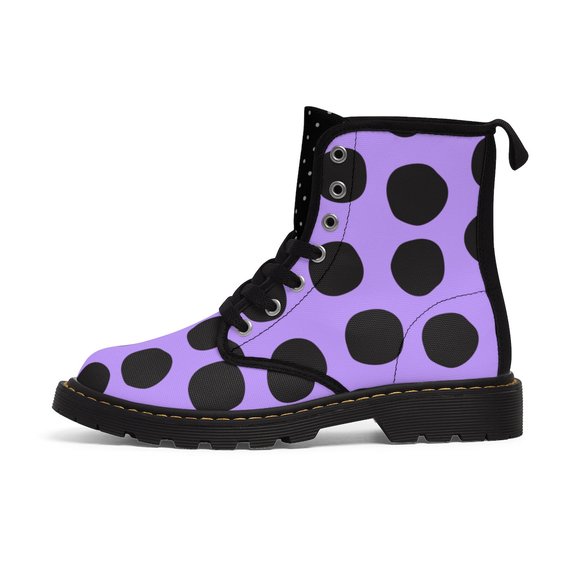 Ultraviolet Purple and Black Polka Dot Kids' Martin Boots Shoes - Polka Dotted All The Things Boutique