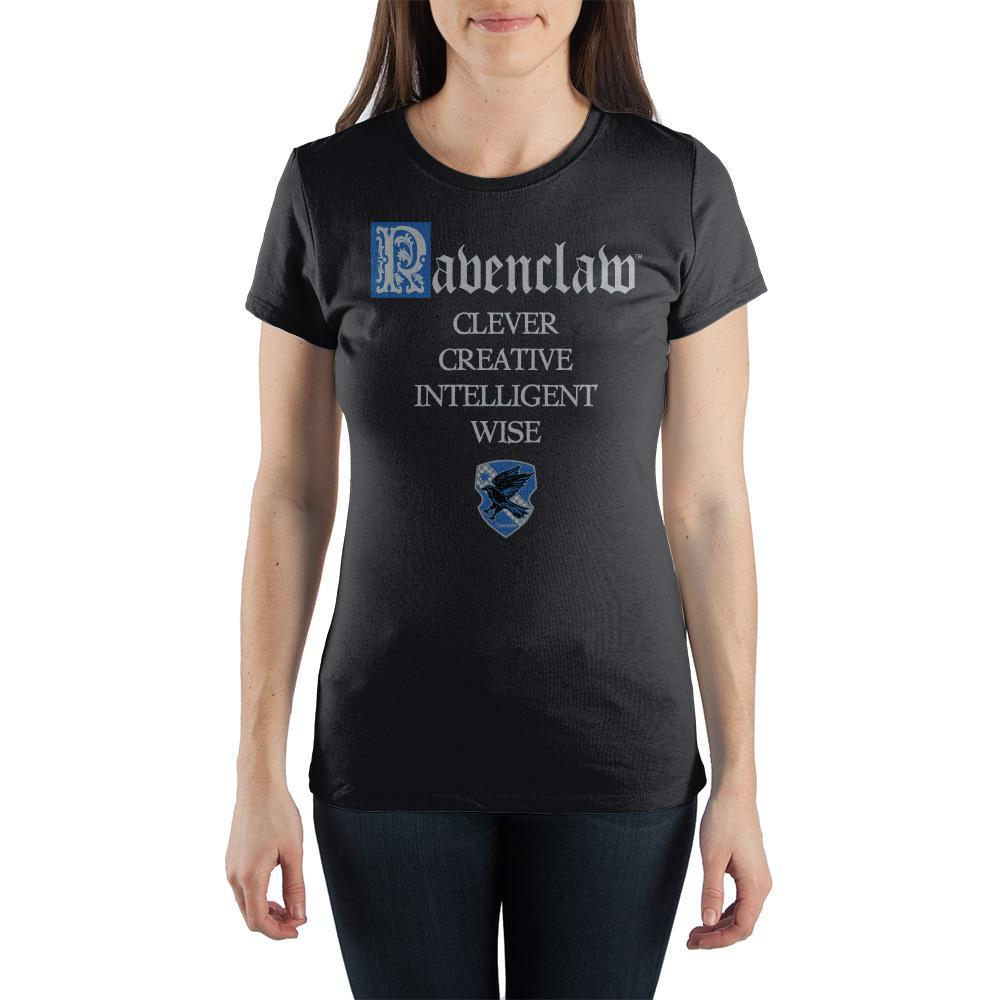 Harry Potter House of Ravenclaw Crest & Characteristics Clever Creative Intelligent Wise Women's Black T-Shirt  - Polka Dotted All The Things Boutique