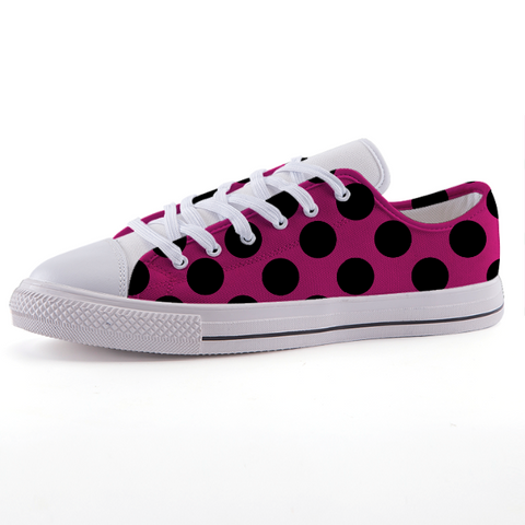 Pink and Black Polka Dot Low-top fashion canvas shoes