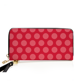 Pink on Pink Polka Dot Leather Zip Around Wallet For Card, phone and Money Wallet - Polka Dotted All The Things Boutique