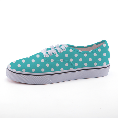Teal and White Low-top fashion canvas shoes