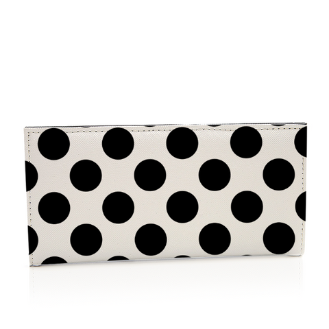 Black and White Polka Dot Leather Long Wallet Card Holder