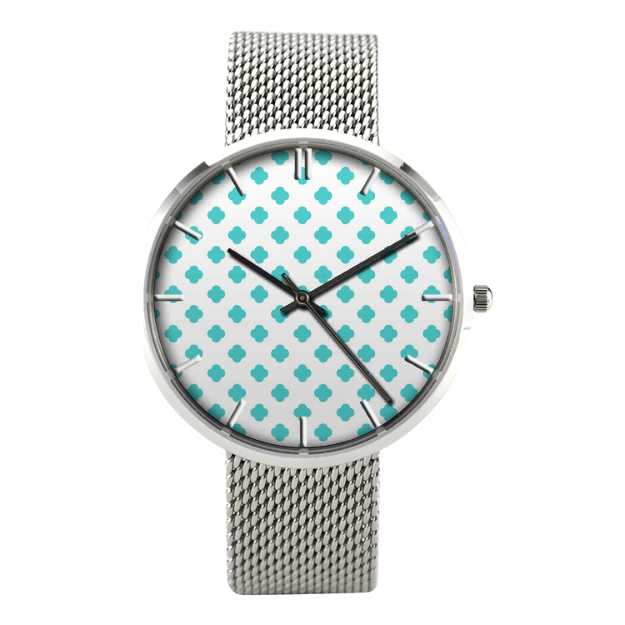 Teal Polka Dot Watch With Casual Stainless Steel Band - 42 Mm - Watch