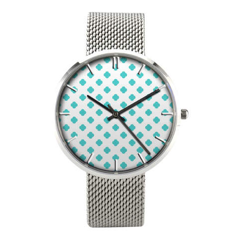 Teal Polka Dot Watch With Casual Stainless Steel Band