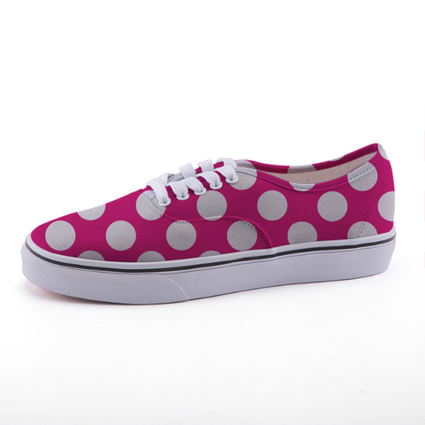 Pink and White Polka Dot Low-top fashion canvas shoes