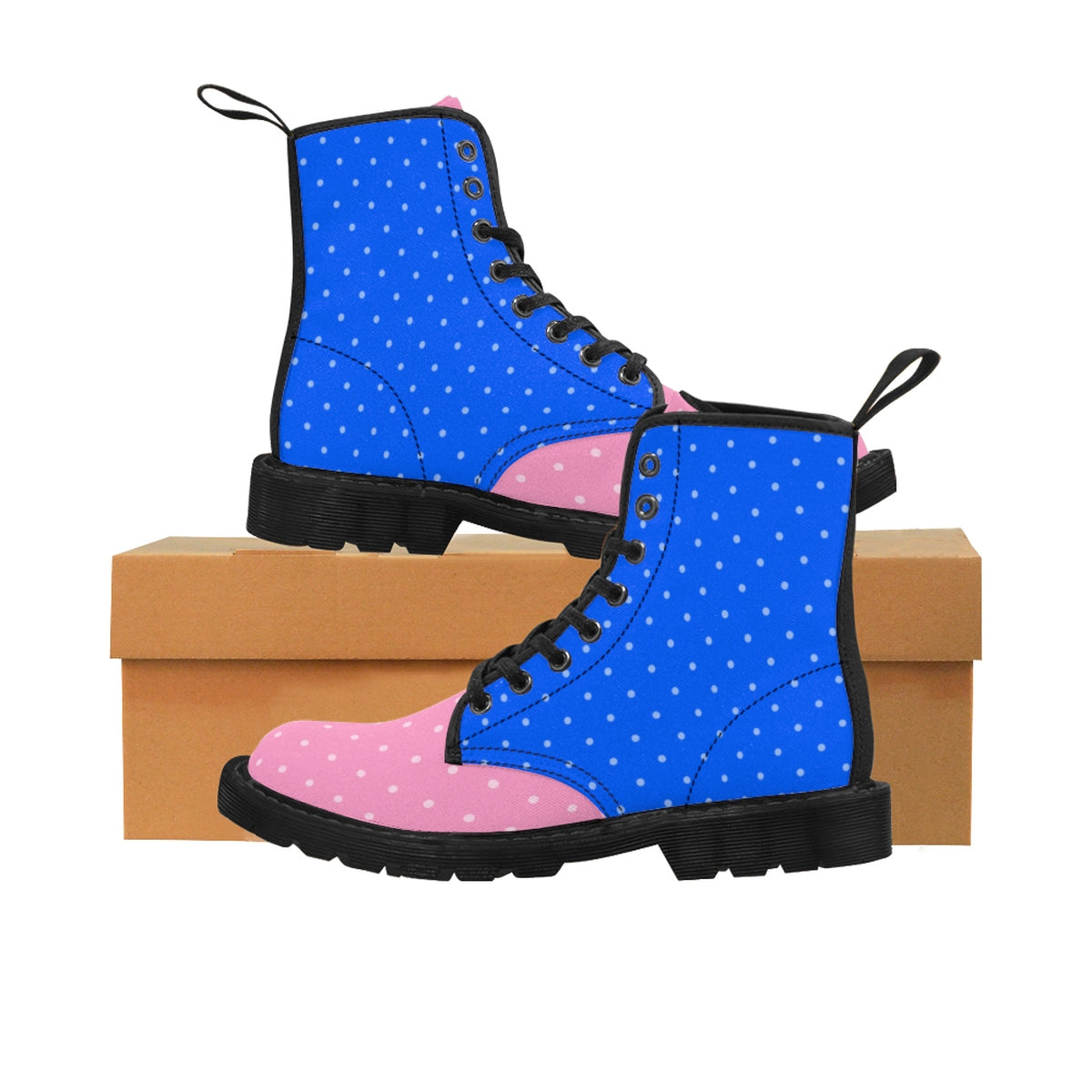 Blue and Pink Polka Dot Women's Martin Style Boots Shoes - Polka Dotted All The Things Boutique