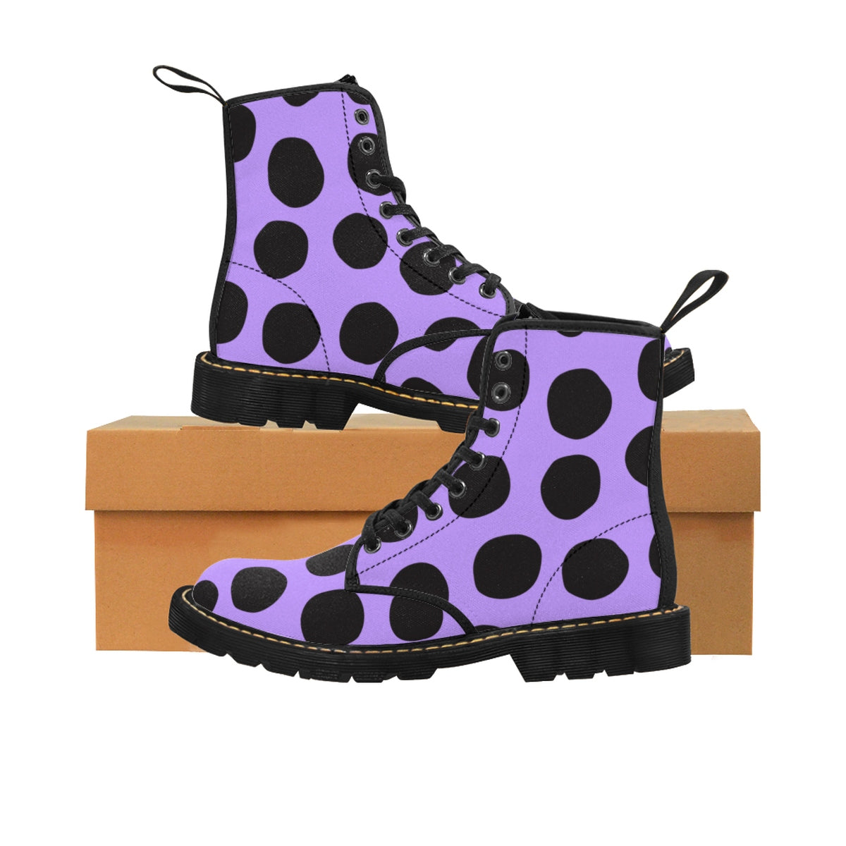 Ultraviolet Purple And Black Polka Dot Kids Martin Boots - Shoes