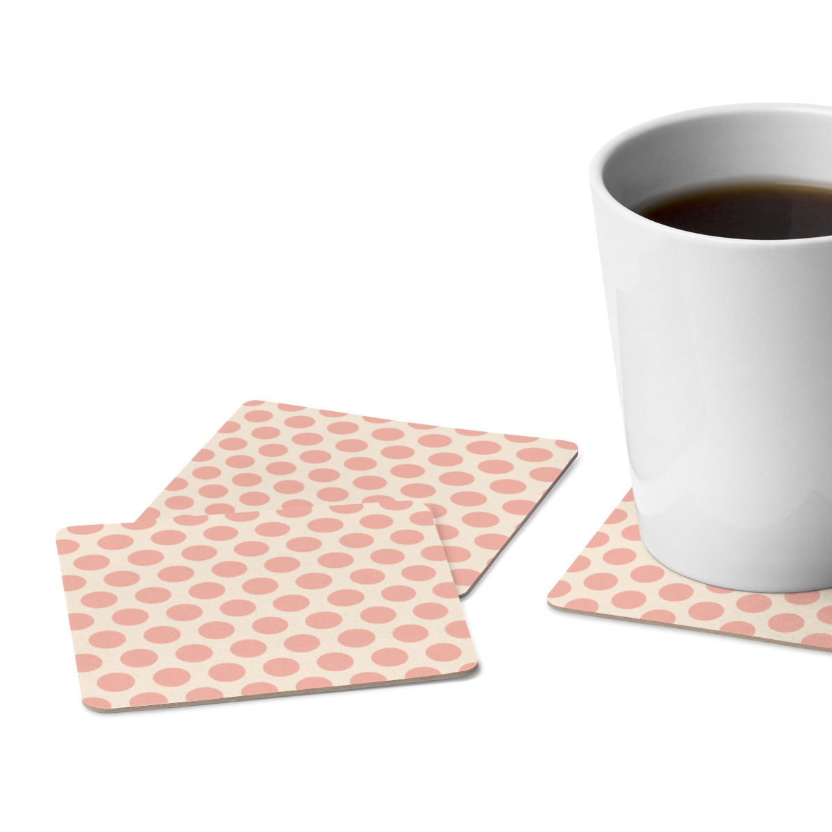 Beige and Pink Polka Dot Square Paper Coaster Set - 6pcs