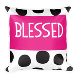 Blessed Polka Dot Square Pillow  - Polka Dotted All The Things Boutique