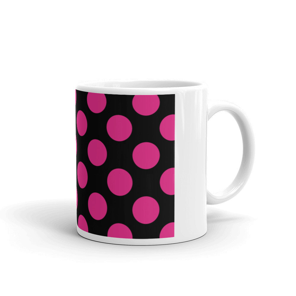 Signature Pink and Black Polka Dot Mug  - Polka Dotted All The Things Boutique