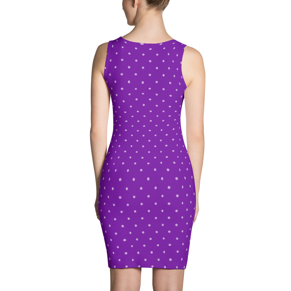 Ultraviolet Polka Dot Bodycon Dress  - Polka Dotted All The Things Boutique