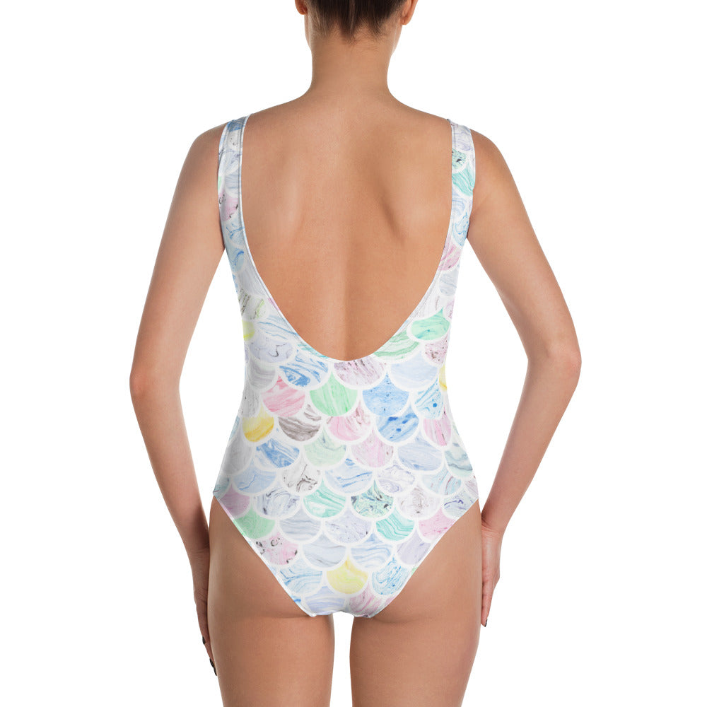 Mermaid Marble One Piece Swimsuit  - Polka Dotted All The Things Boutique