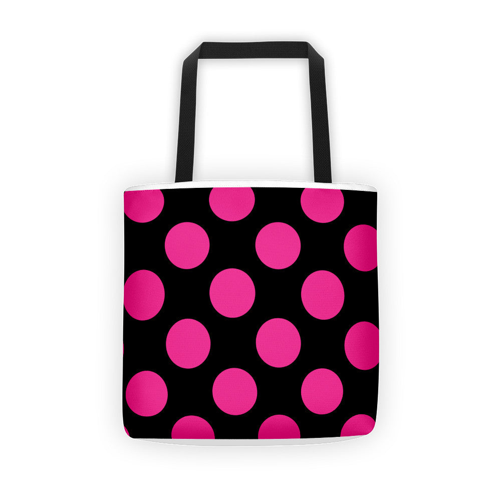 Signature Pink and Black Tote bag  - Polka Dotted All The Things Boutique
