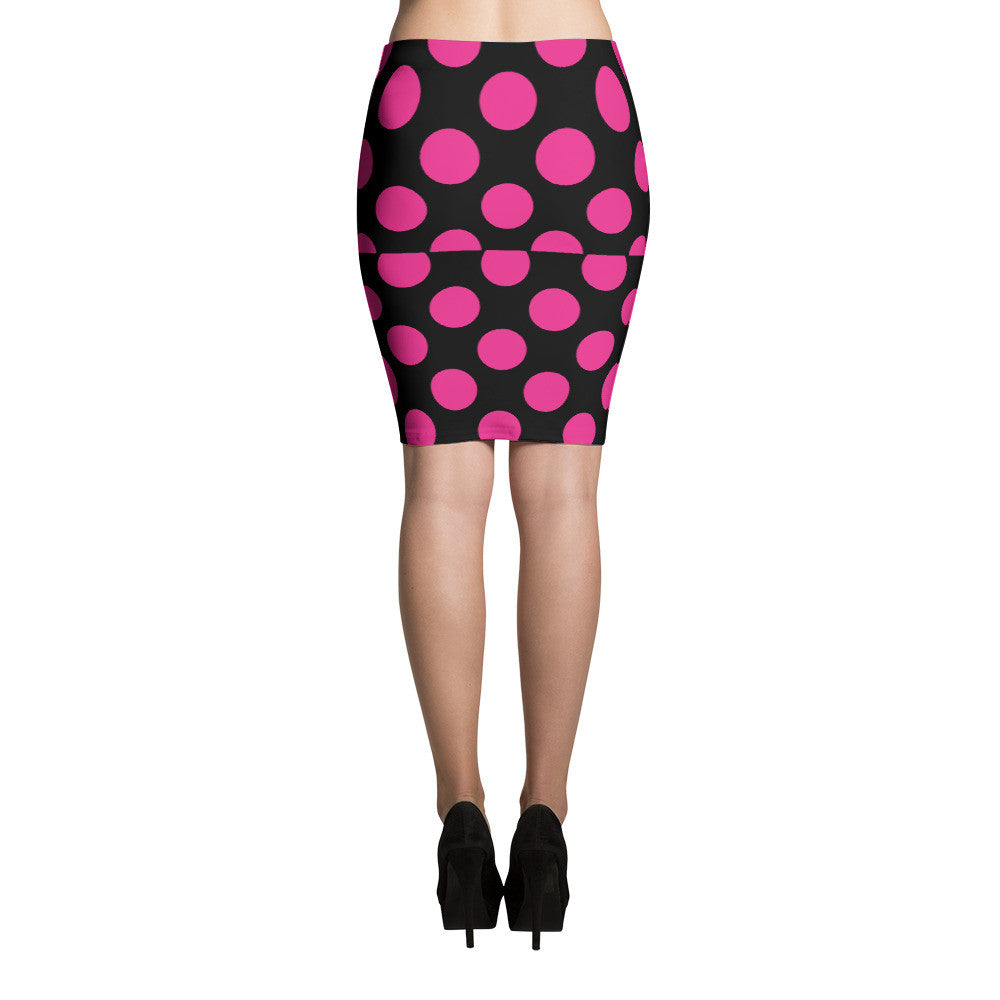 Signature Pink and Black Polka Dots Pencil Skirt  - Polka Dotted All The Things Boutique