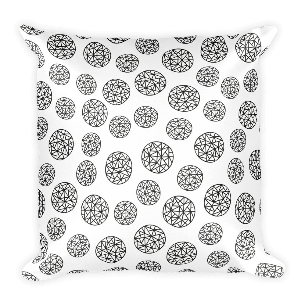 Geometric Polka Dots Black and White Square Pillow  - Polka Dotted All The Things Boutique