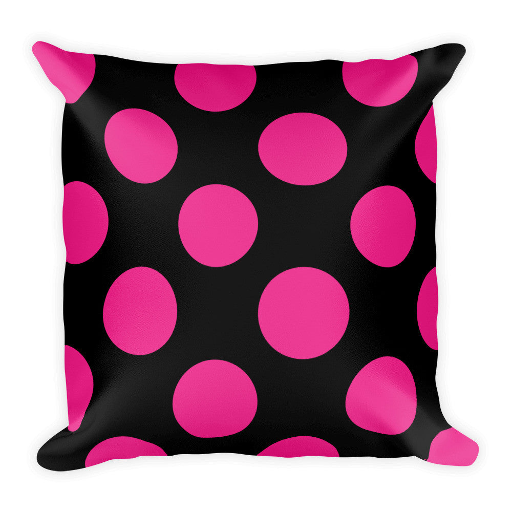 Signature Pink and Black Polka Dots Square Pillow  - Polka Dotted All The Things Boutique