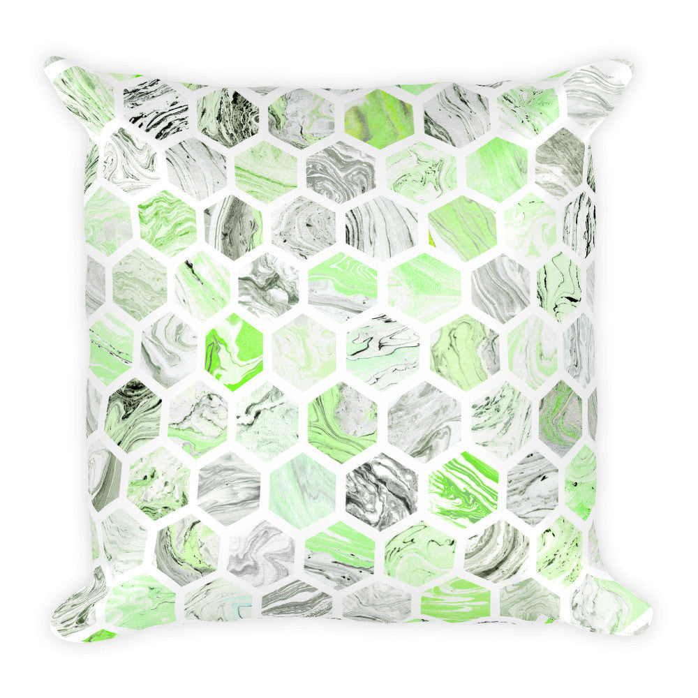 Oreiller carré à motif hexagonal en marbre vert - Angel Effect Shop