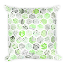 Green Marble Hexagon Pattern Square Pillow