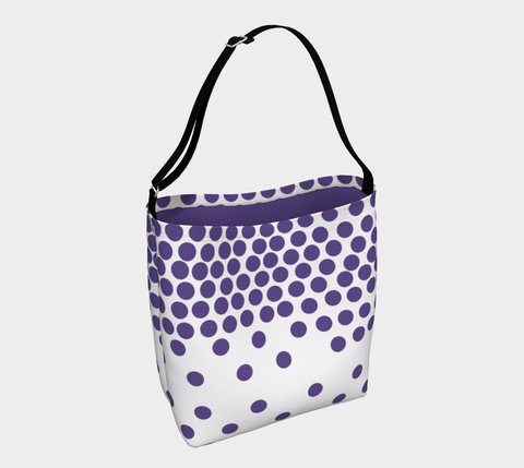 Ultraviolet polka dot day totebag