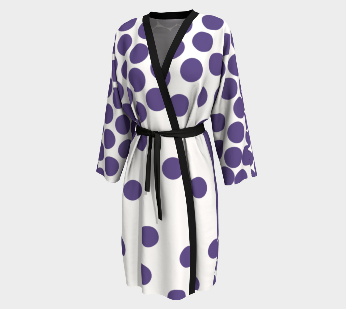 Ultraviolet Polka Dot Weekend Robe - Peignoir