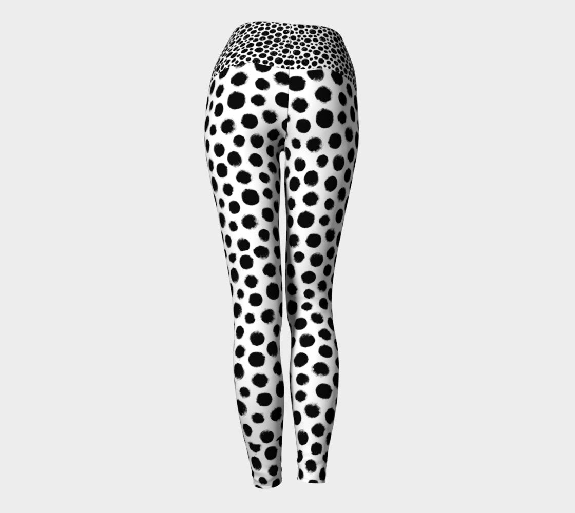 Double polka dot black and white leggings Yoga Leggings - Polka Dotted All The Things Boutique