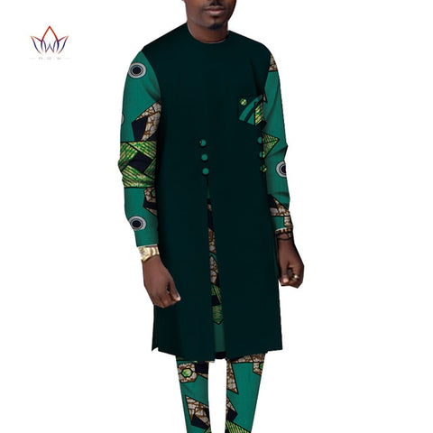 Bazin Riche 2 Pièces Homme Ensembles Africains Vêtements Casual Boubou - Angel Effect Shop
