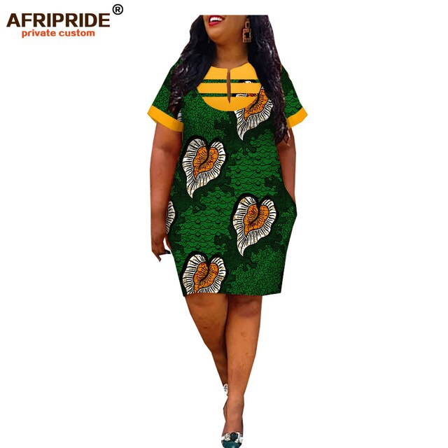 Robes Africaines Chic Traditionnelle Courte Moderne femmes été 100% coton - Angel Effect Shop
