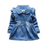 Lovely Baby Girls Denim Ruffled Princess Coat baby - Polka Dotted All The Things Boutique
