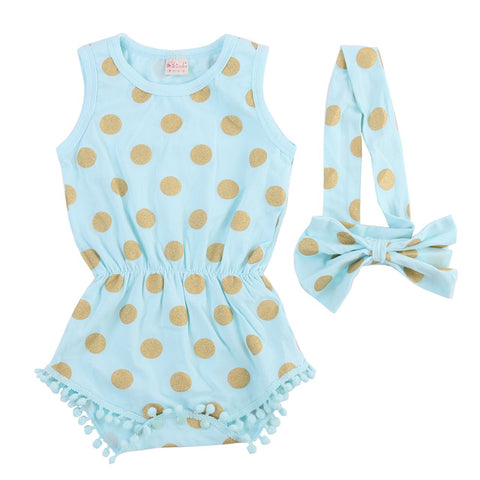 Baby Girls  0-24M Infant  Short Sleeve Playsuit Bodysuit  - Polka Dotted All The Things Boutique