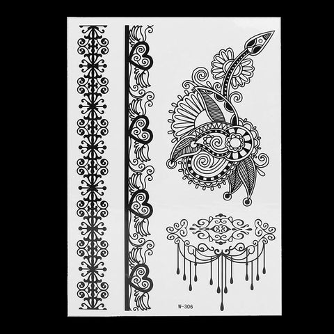 1PC Fashion Flash Waterproof  Tattoo Women Black Ink Henna Jewel Sexy Lace BJ019 Flower Pendant Wed Henna Temporary Tattoo Stick  - Polka Dotted All The Things Boutique