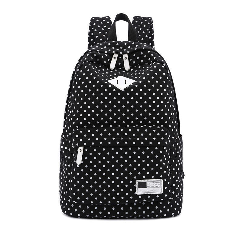 Canvas Polka Dot School Backpack Backpacks - Polka Dotted All The Things Boutique