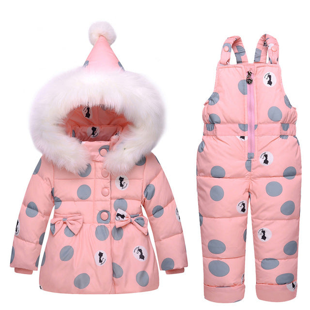 Girls Winter Hooded Duck Down Jacket + Trousers Waterproof Snowsuit Children's Fashion - Polka Dotted All The Things Boutique