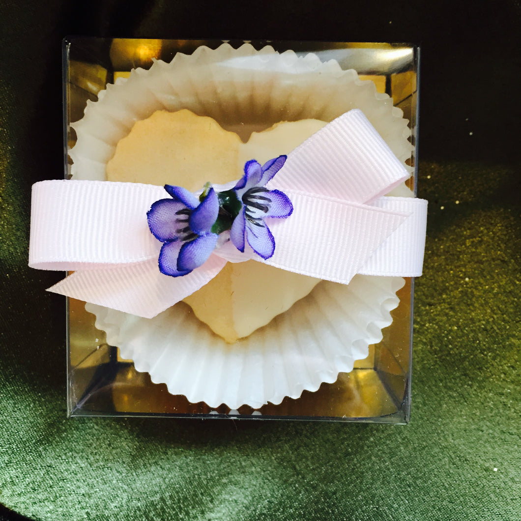 Guest Favour with large scalloped shortbread heart cookie, ribbon and flower - $4.75