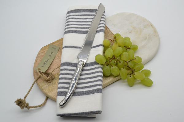 BREAD KNIFE, MARBLE BOARD & KITCHEN CLOTH