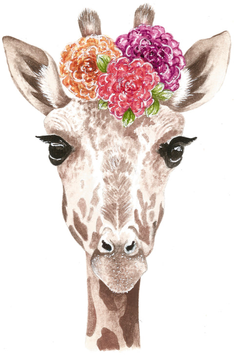Baby Giraffe with flowers print