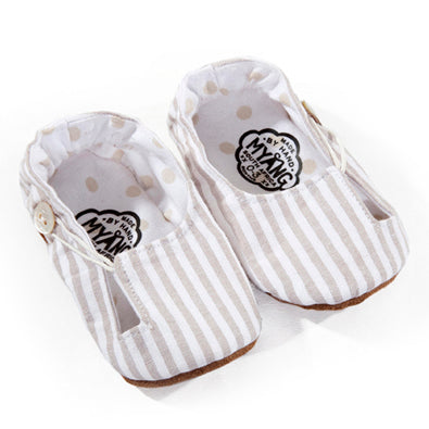 Myang Keyhole Shoes in Cream and White Stripe