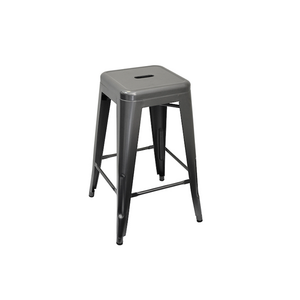 Metal Gunmetal Bar Stool 66cm