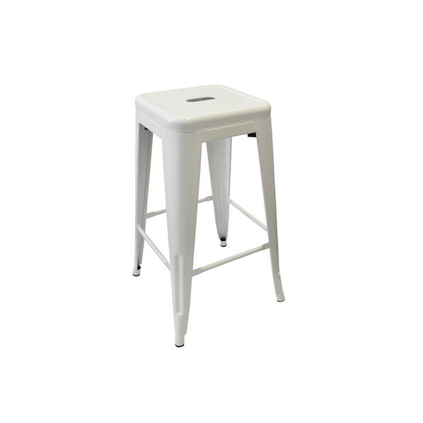 Bar Stool Shiny White Metal 66cm