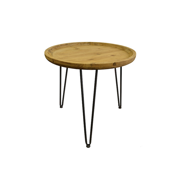 Side Table with Wooden Top 50cm