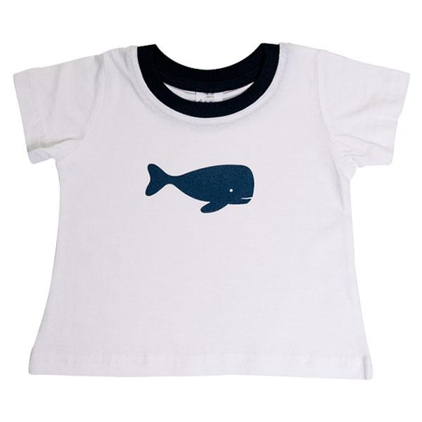 T-Shirt - White with Navy Whale