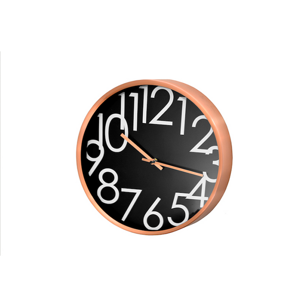 Copper and Black Wall Clock 32cm