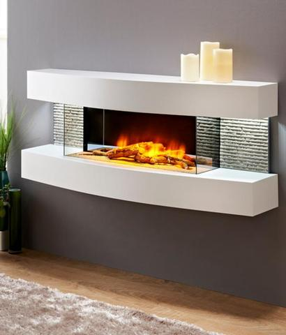 Evolution Fireplaces Miami Curve Modern Electric Fireplace Wall Mount