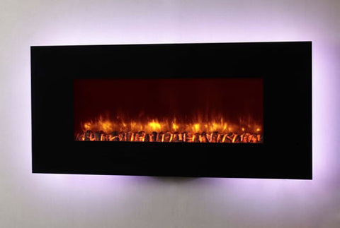 "Dynasty 58"" Wall Mount Electric Fireplace W/ Logs - EF69-L"