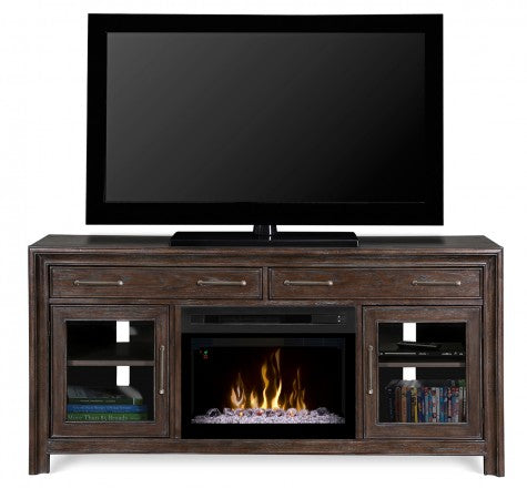 Dimplex Woolbrook Distressed Nutmeg Electric Fireplace Media Console w/ Acrylic Ice - GDS25GD-1415WBN