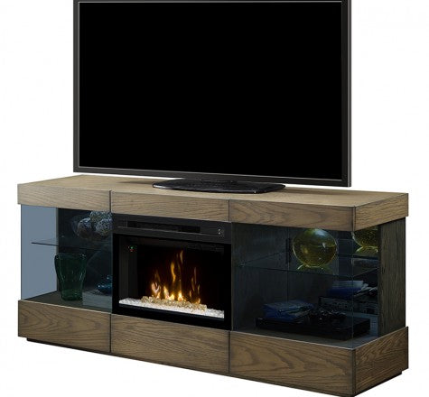 Dimplex Axel Electric Fireplace Media Console in Raked Sand W/ Acrylic Ice - GDS25GD-1583RS