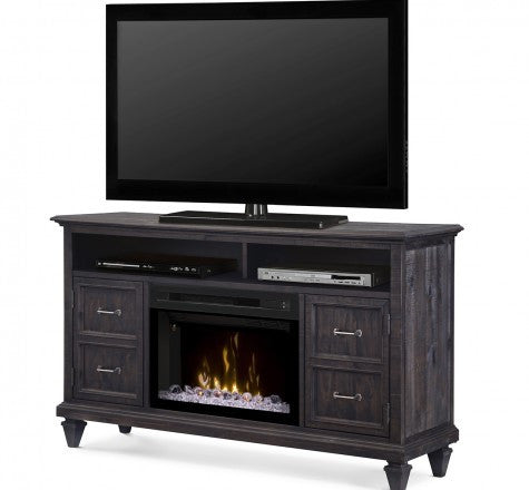 Dimplex Solomon Electric Fireplace Media Console w/ Glass in Weathered Grey GDS25GD-1594WG